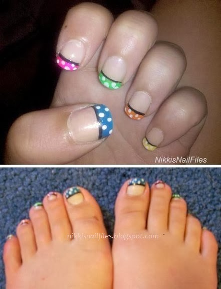 polka dot manicure; polka dot tips; polka dot nail design; nail designs with multicolor polka dots