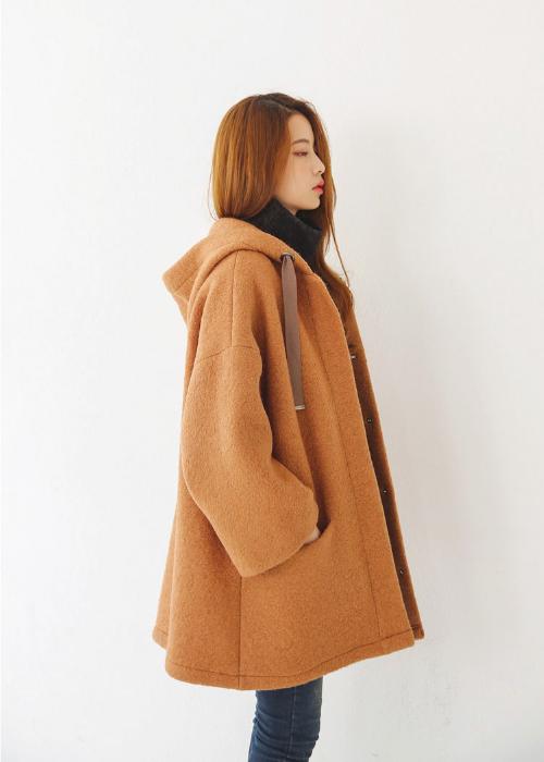 Drawstring Hooded Fleece Jacket