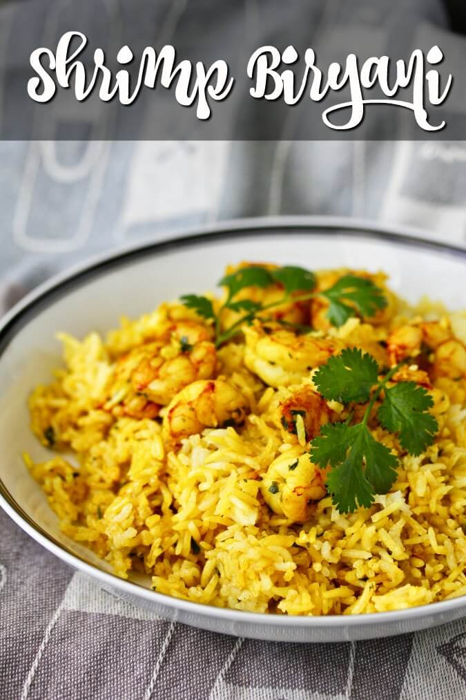 Biryani with shrimp, saffron, and spices