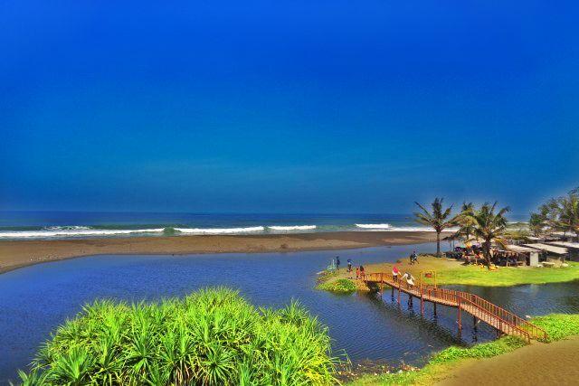 Pemandangan Alam Pantai, Laguna, dan Pohon Kelapa