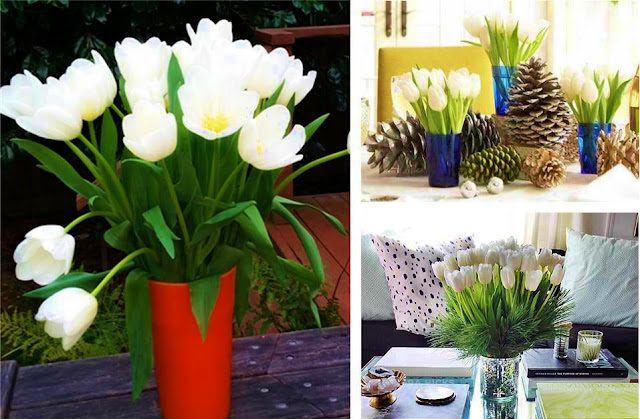 White christmas tulips arrangements