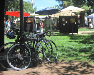 Bicycles parked at outdoor art show, Los Gatos, California