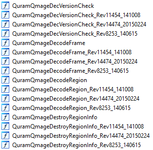 Example list of Qmage functions with four copies each