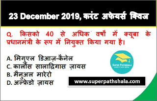 Daily Current Affairs Quiz in Hindi 23 December 2019