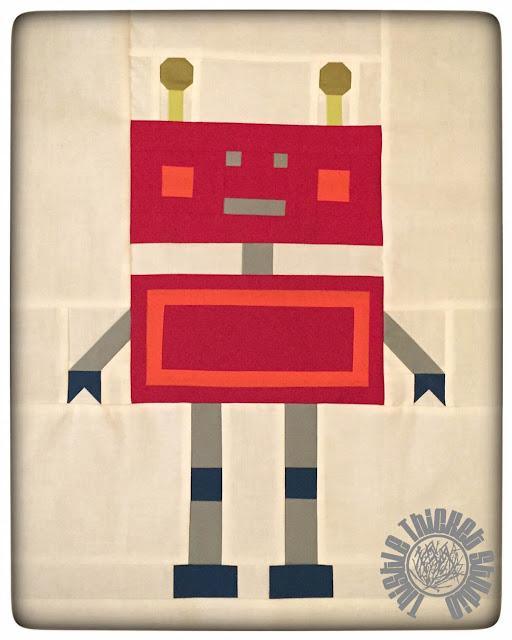 """Robots All In A Row"" Red Robot by Thistle Thicket Studio. www.thistlethicketstudio.com"