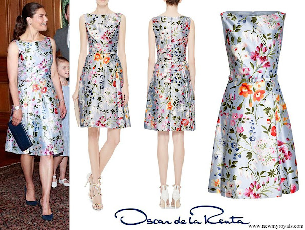 Crown Princess Victoria-wore Oscar De La Renta Floral Print Cotton And Silk Blend Twill Dress