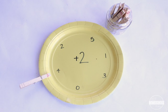 simple, hands on Math Facts for Kids using paper plates and clothespins