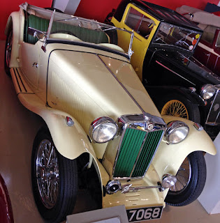 1946 MG TC on display in museum.
