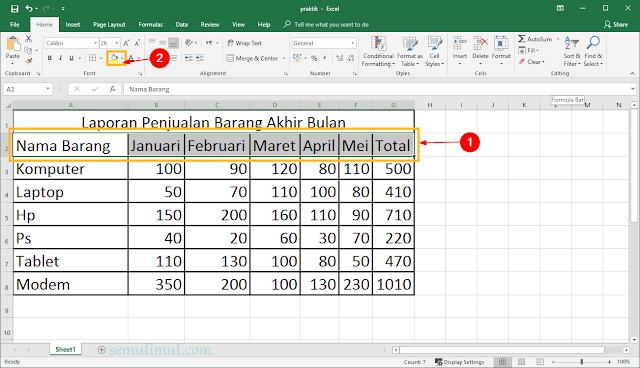 cara memberi warna pada tabel excel