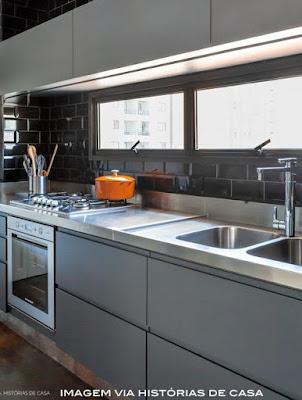 idéias de armário cinza para cozinha