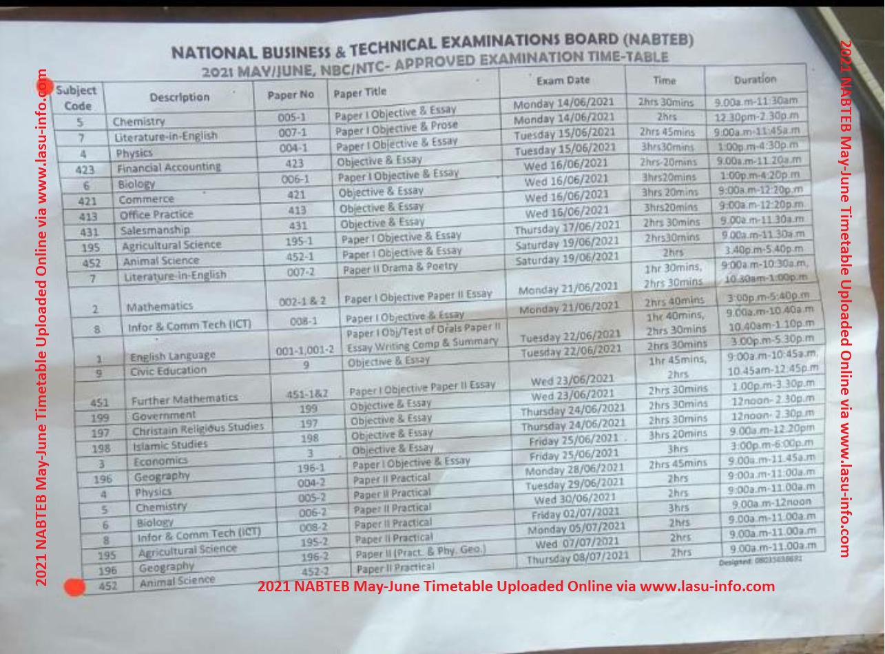 NABTEB Timetable May/June NBC/NTC [14th June - 8th July 2021]