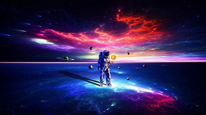 Papel de Parede Astronauta e Planetas