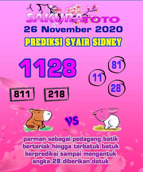 Syair Sakuratoto Sidney Kamis 26 November 2020