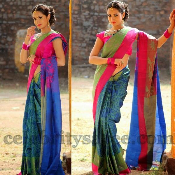 70c3818a6e681f South Indian actress Sunitha Rana wearing royal blue and sea green color uppada  silk saree with parrot green, pink colors plain silk border, Lotus floral  ...