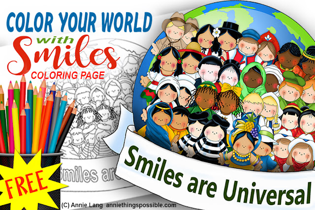 Download Annie Lang's full size coloring page from International Smile Line Art Pattern book because Annie Things Possible when smiles are universal!