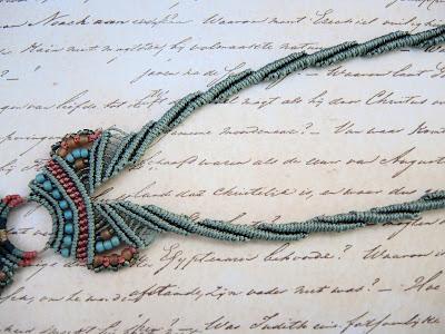 Micro macrame necklace straps by Sherri Stokey.