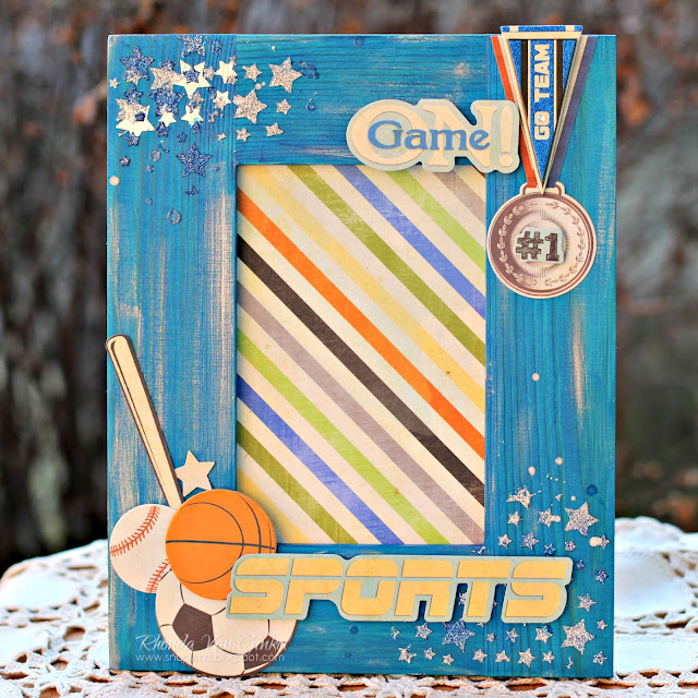 BoBunny Fine Arts Friday Altered Frame featuring Game On collection with Pentart Lasur Indoor Gel in Blue designed by Rhonda Van Ginkel