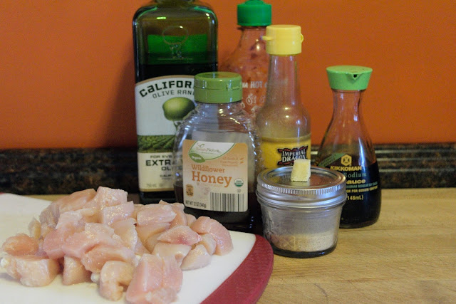 All of the ingredients needed to make the baked sesame chicken.