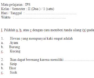 Soal-UTS-IPA-kelas-2-SD-Semester-1