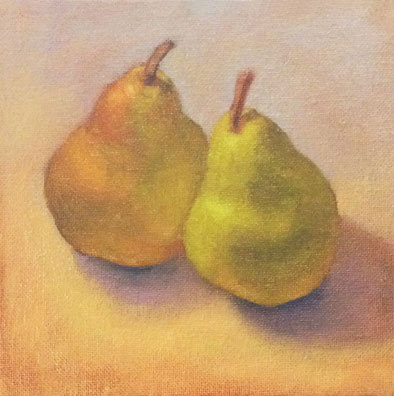 G Sivitz, oil painting, pair of pears, pears
