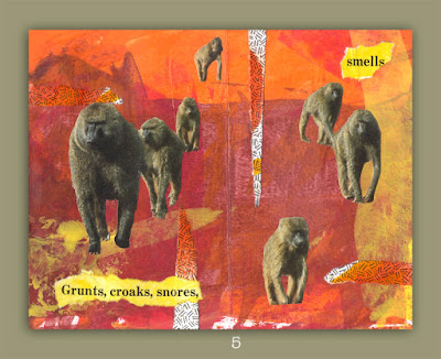 handmade folded collaged book about animals