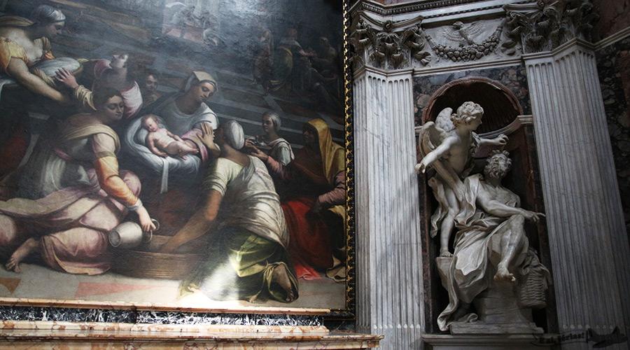 Habacuque de Bernini e O Nascimento da Virgem de Piombo, na Capela Chigi, em Roma