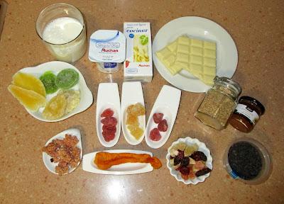 sopa de chocolate blanco, frutos secos, gelatina Alocados en la cocina