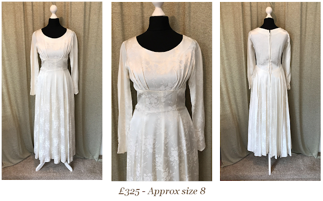 1950s long sleeve brocade detail vintage wedding dress available from vintage lane bridal boutique bolton manchester