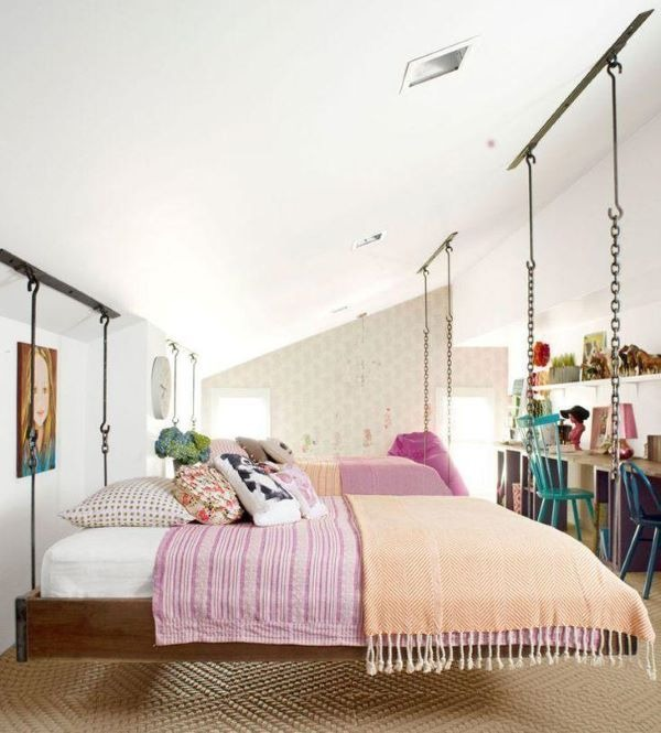 Female room with a floating bed