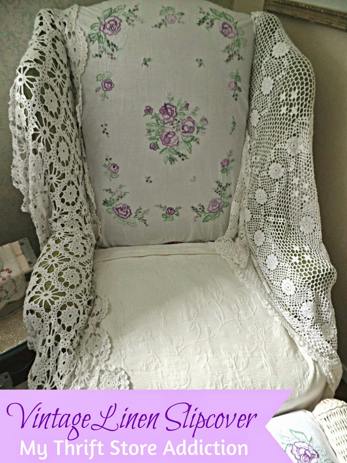 No sew vintage linen slipcover