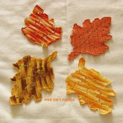 Fall Oak Leaves Coaster Set, Filet Crochet, Doily, Trinkets, Fiber Art, Applique