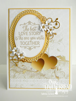 Our Daily Bread Designs Stamp Set: Happily Ever After, Paper Collection: Wedding Wishes, Custom Dies; Pierced Ovals, Ornate Ovals, Flower Box Fillers, Lovely Leaves, Flourished Star Pattern