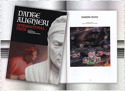 """Catálogo del Premio Internacional """"DANTE ALIGHIERI"""" y la página de la obra de Ramón Rivas"""