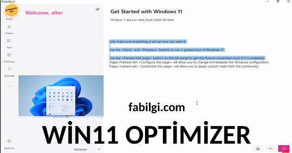 Windows 11 Optimize Etme Programı İndir Kullanım Yeni