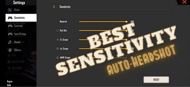 Free Fire Otomatik Headshot için en iyi hassasiyeti ayarları