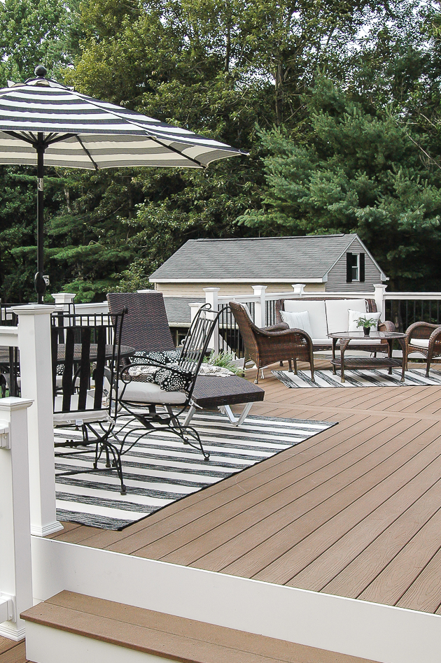 Black and white decorated summer deck