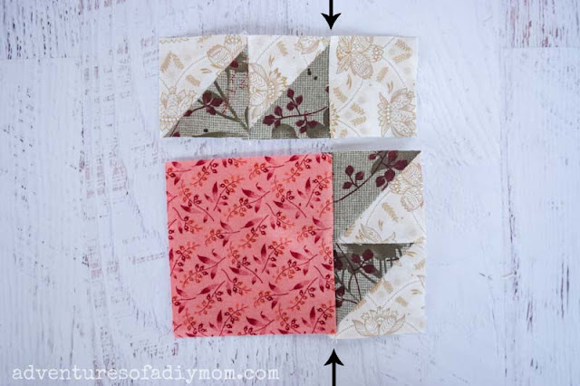 sewing together the bear paw quilt block