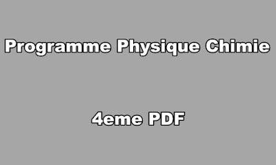 Programme Physique Chimie 4eme PDF