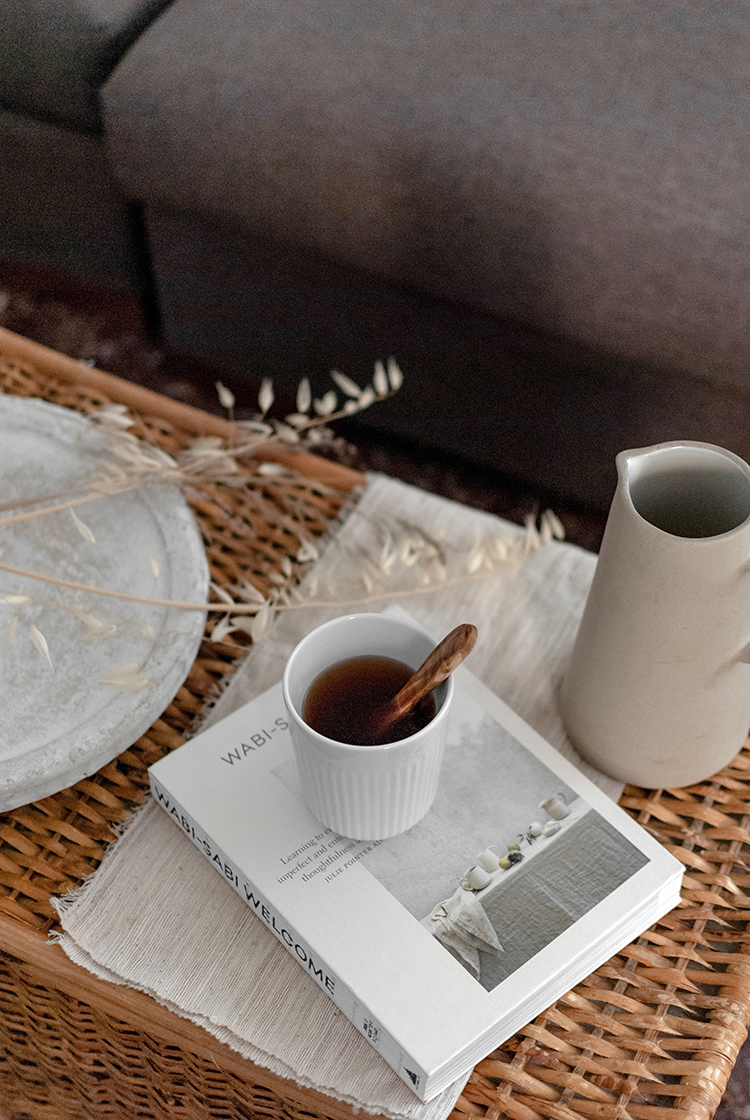 Coffee table vignette and Wabi-Sabi Welcome book. Photo and styling by Eleni Psyllaki for My Paradissi