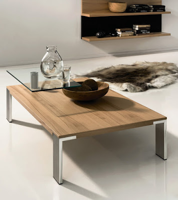 Contemporary glass wood coffee table by Huelsta