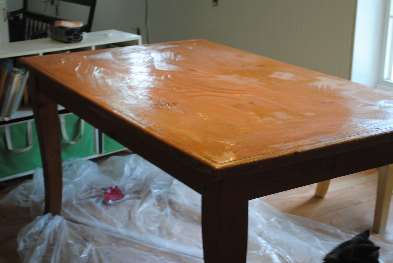 refinish old knotty pine dining table refinish kitchen table I started the project by slathering on a TON of of paint varnish remover like so