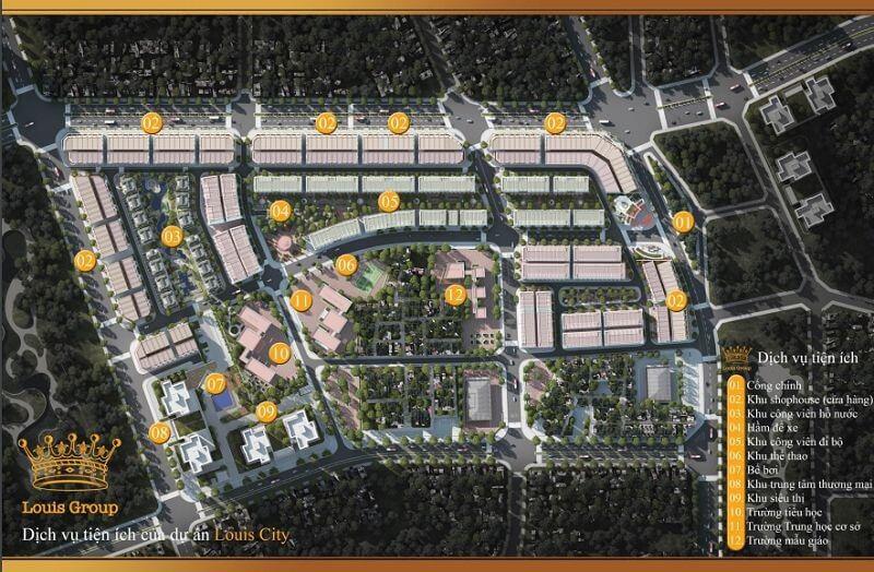 Tổng thể tiện ích dự án đô thị Louis City Đại Mỗ.