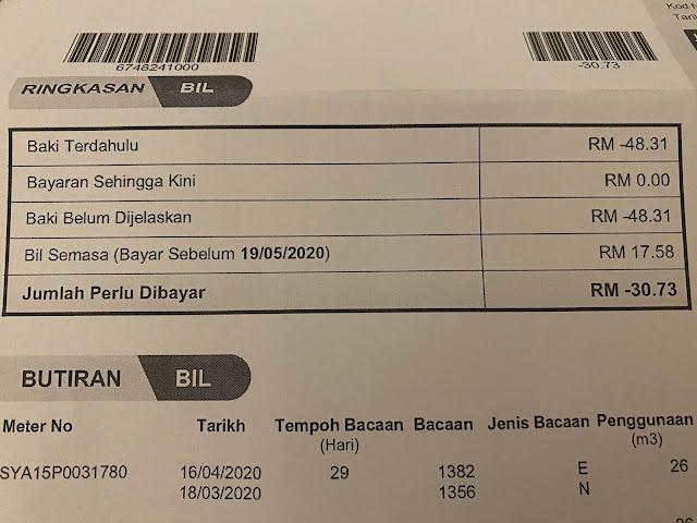 malaysian water bill