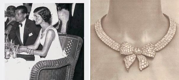 1932 en photo avec Serge Lifar et a droite un des colliers de son exposition le thème du noeud en bijouterie est très ancien, le celèbre noeud sous louis