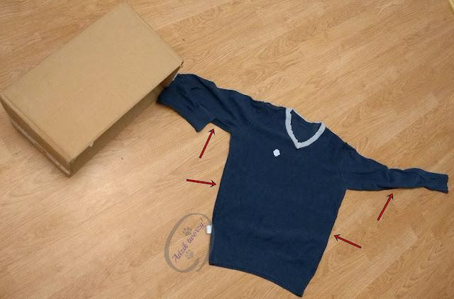 Adzik tworzy - organizer diy z kartonu i swetra