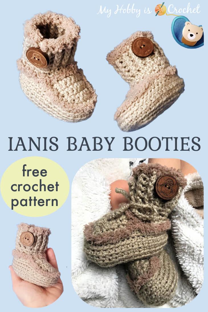 Baby Ianis Crochet Booties,Ugg-style crochet baby booties