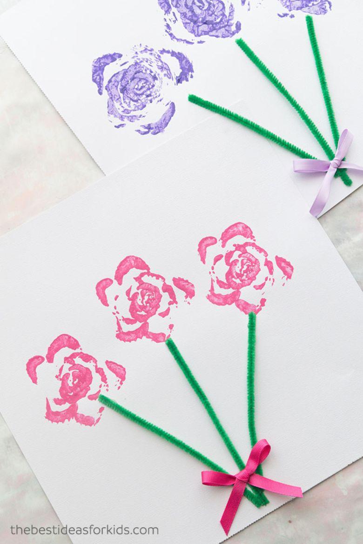 celery stamped flower craft