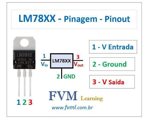 Pinagem - Pinout - Regulador de tensão LM78XX - Características