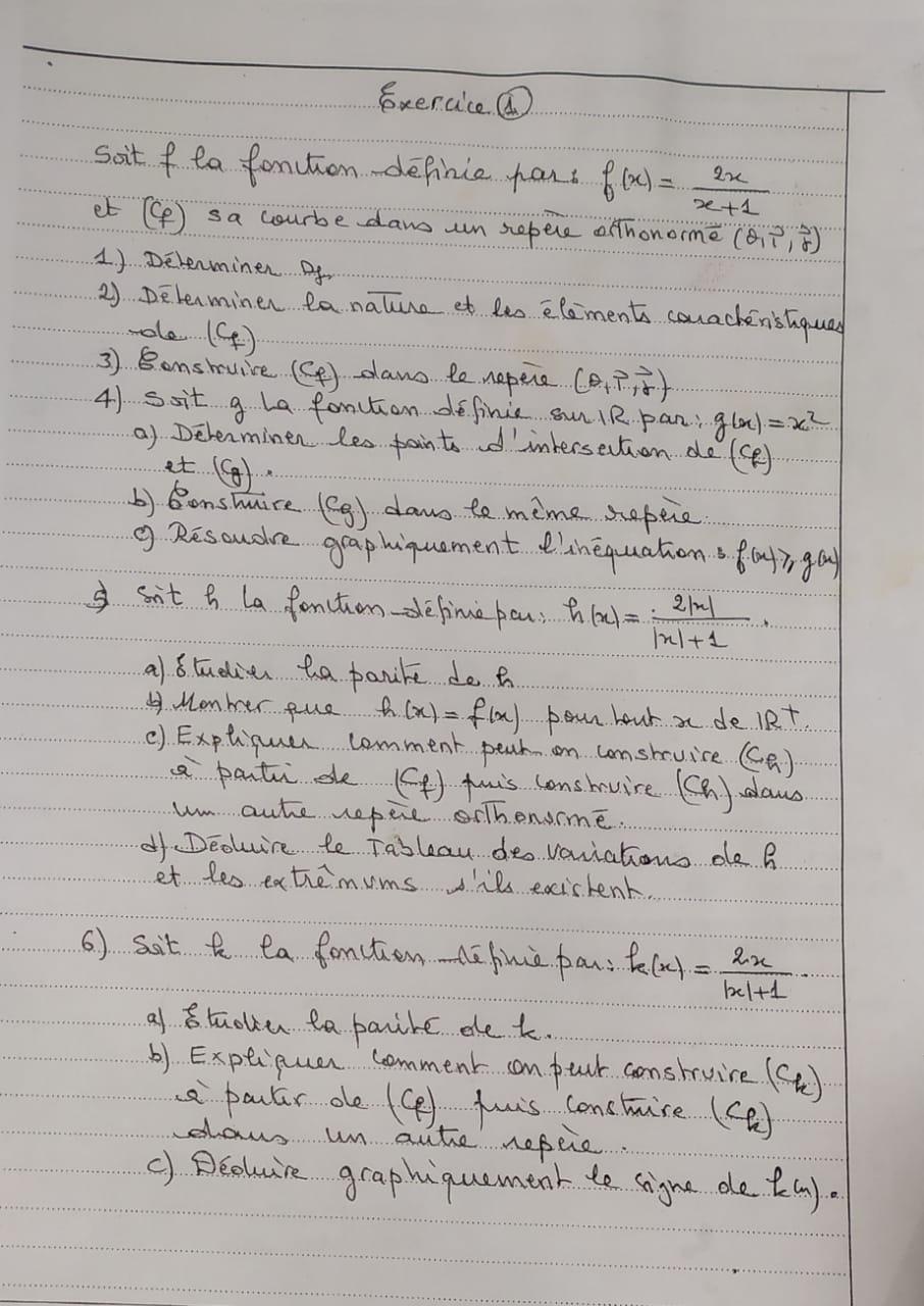 تمرين شامل حول الدوال العددية للجدع مشترك علمي مع التصحيح بالفيديو