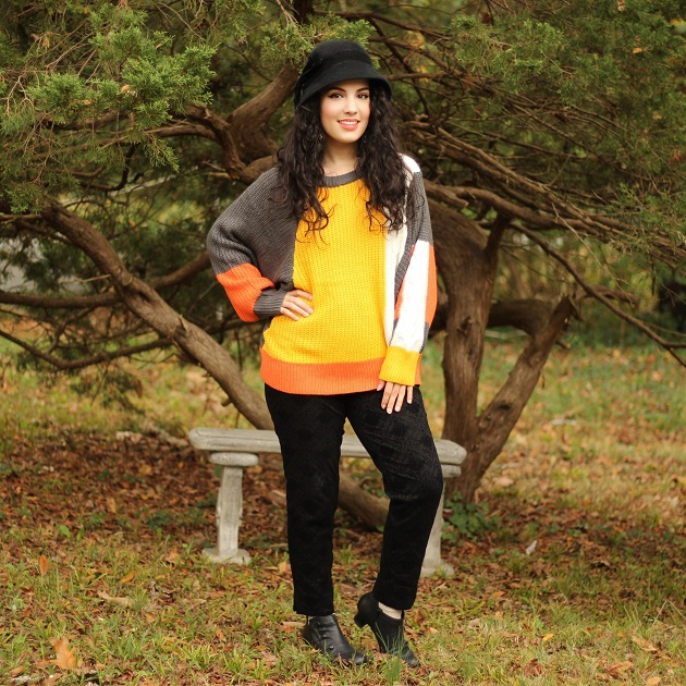 SHEIN Orange Colorblock Sweater